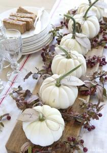 These gourds make amazing place holders. Use the gourd of your choice, painted or not and tie a small paper leaf to the stem with the name of your guest.